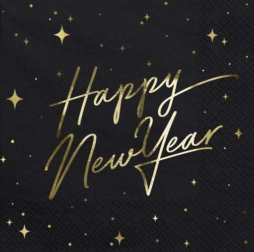 """Χαρτοπετσέτες Μαύρες """"Happy New Year"""""""