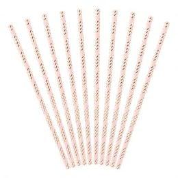 Καλαμάκια χάρτινα ανοιχτό ροζ και χρυσό (10 τεμ)