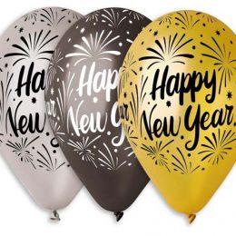 """Τυπωμένο μπαλόνι """"Happy New Year"""" σε 3 αποχρώσεις"""