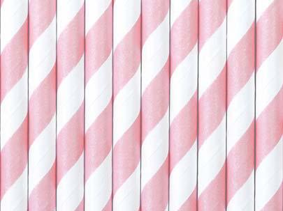 Καλαμάκια χάρτινα ανοιχτό ροζ (10 τεμ)