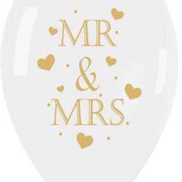 13″ Μπαλόνι τυπωμένο διάφανο- χρυσή εκτύπωση Mr & Mrs
