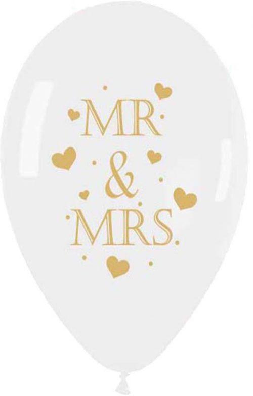 """13"""" Μπαλόνι τυπωμένο διάφανο- χρυσή εκτύπωση Mr & Mrs"""