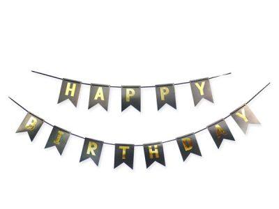 """Διακοσμητικό μπάνερ μαύρο """"Happy birthday"""""""