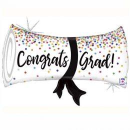 Μπαλόνι αποφοίτησης πτυχίο Grad με γκλίτερ 79 εκ