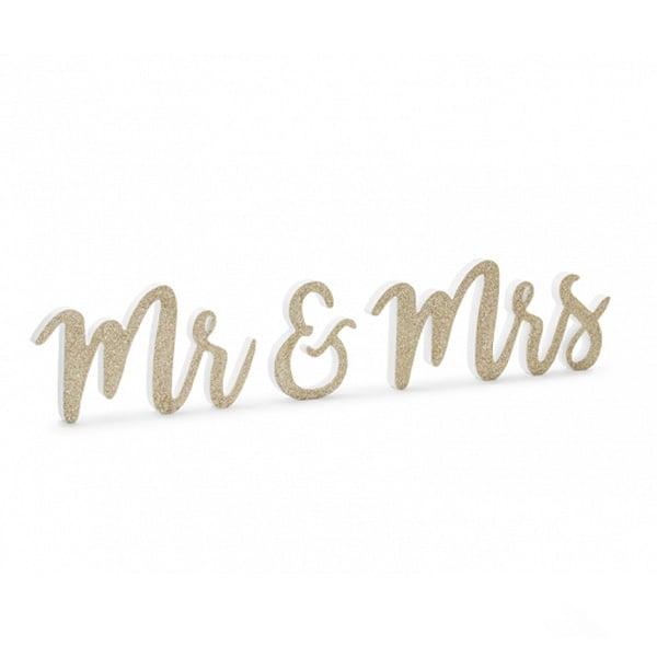 Ξύλινο διακοσμητικό τραπεζιού Χρυσό Mr & Mrs