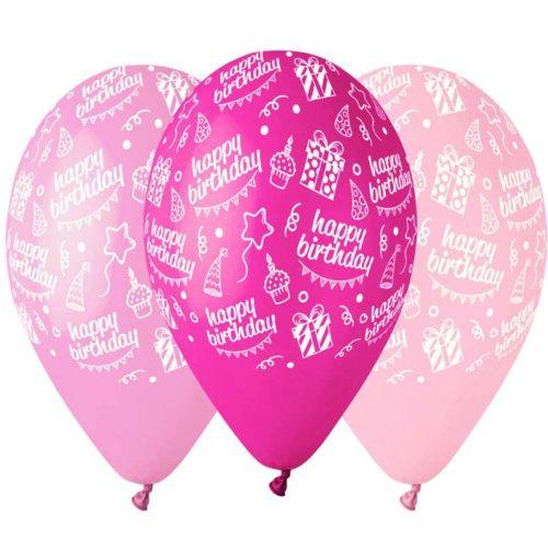 """12"""" Μπαλόνι Happy Bday ροζ αποχρώσεις"""