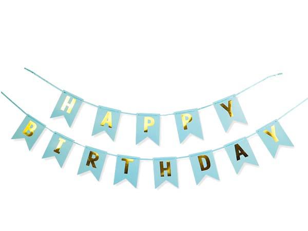 """Διακοσμητικό μπάνερ μπλε """"Happy birthday"""""""