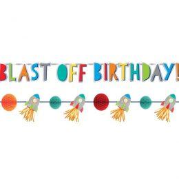 """Διακοσμητικό Μπάνερ Διάστημα """"Blast- off Birthday"""""""