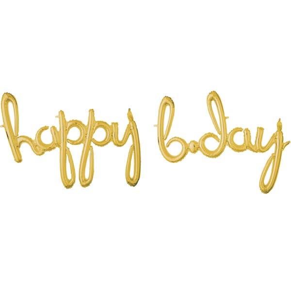 """Μπαλόνι """"Happy B-day"""" Gold (2 τεμ)"""
