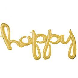 """Μπαλόνι γενεθλίων """"Happy"""" Χρυσό 147 εκ"""