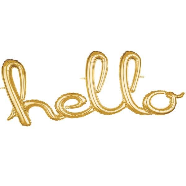 """Μπαλόνι """"Hello"""" χρυσό"""