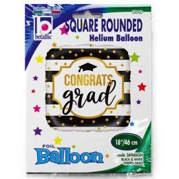 Μπαλόνι αποφοίτησης Congrats Grad ρίγες 45 εκ