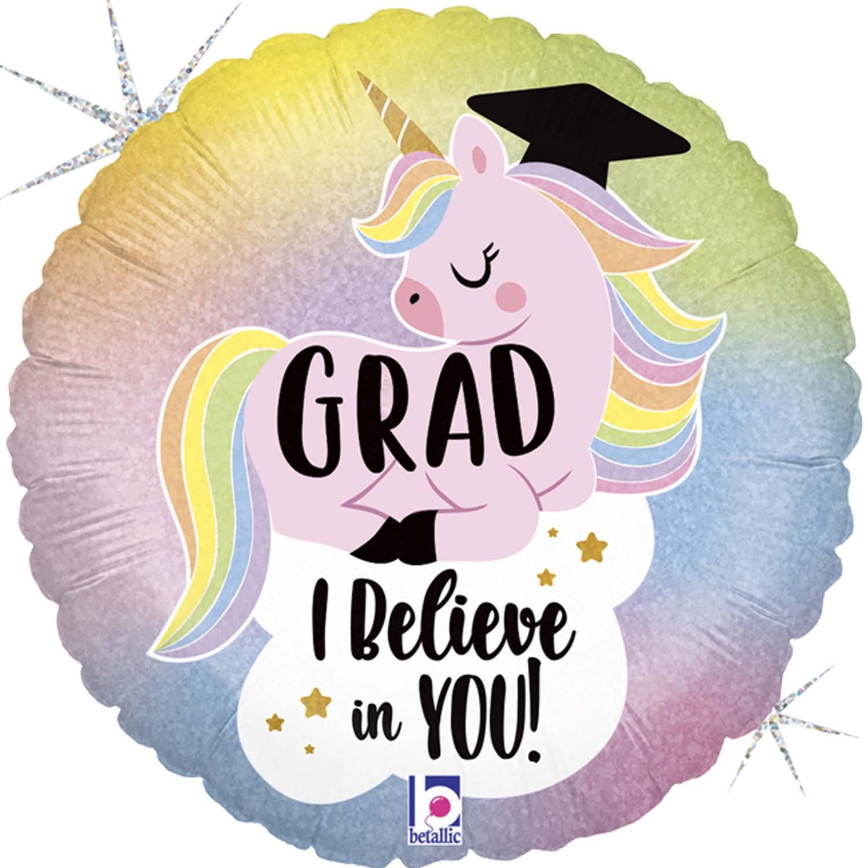 """Μπαλόνι αποφοίτησης Grad μονόκερος """"I believe in you"""" 45 εκ"""