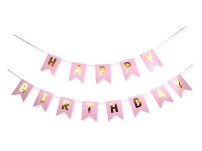 """Διακοσμητικό μπάνερ ροζ """"Happy birthday"""""""