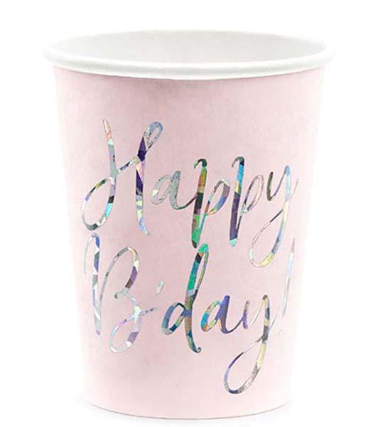"""Ποτήρια πάρτυ απαλό ροζ """"Happy Birthday"""" (6 τεμ)"""