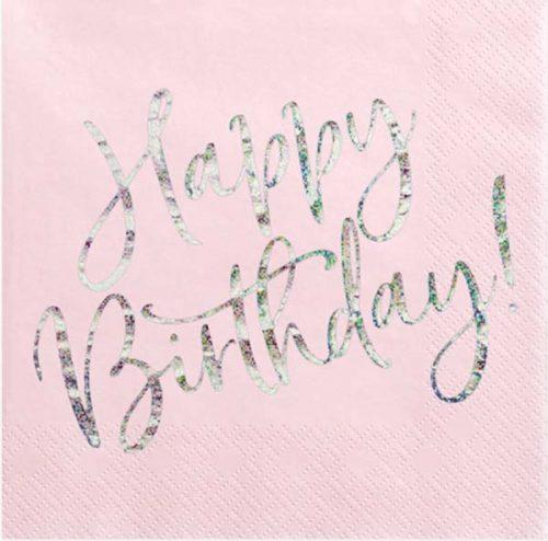 """Χαρτοπετσέτες απαλό ροζ """"Happy Birthday""""(20 τεμ)"""