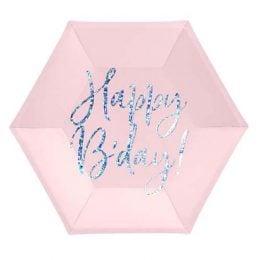 """Πιάτα πάρτυ απαλό ροζ """"Happy Birthday"""" (6 τεμ)"""