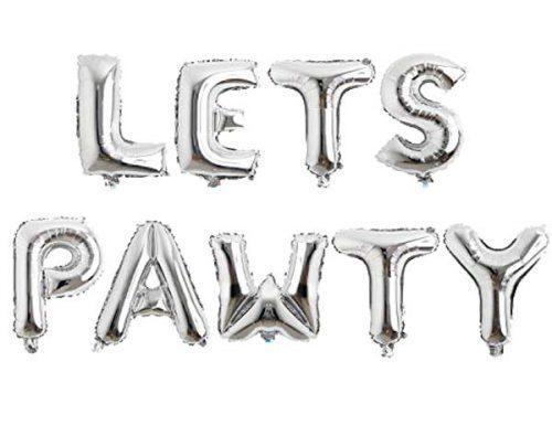 """Μπαλόνι """"Let's Pawty"""" ασημί 40 εκ (9 τμχ)"""