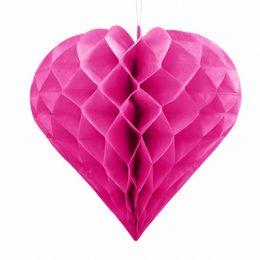 Σκούρο ροζ χάρτινη διακοσμητική καρδιά  30 εκ.