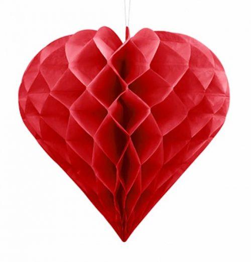 Κόκκινη χάρτινη διακοσμητική καρδιά 30 εκ.