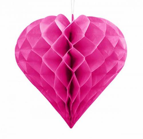 Σκούρο ροζ χάρτινη διακοσμητική καρδιά 20 εκ.