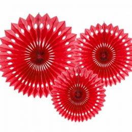 Σετ κόκκινες χάρτινες βεντάλιες (3 τεμ)