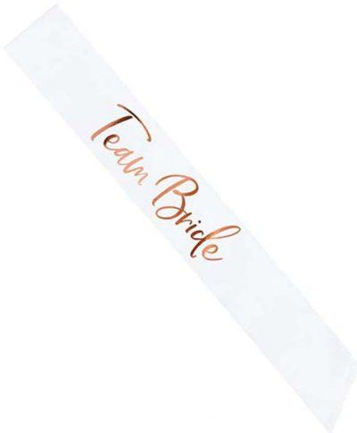 Κορδέλα λευκή σατέν Team Bride rosegold γράμματα κορδέλα μπάτσελορ