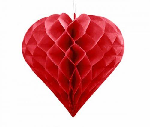Κόκκινη χάρτινη διακοσμητική καρδιά 20 εκ.