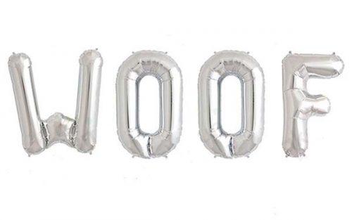 Μπαλόνι Woof ασημί 40 εκ (4 τμχ)