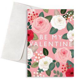 κάρτα αγάπης φλοράλ be my valentine