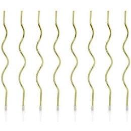 Χρυσά ψηλά κεράκια Curl (8 Τεμ.)