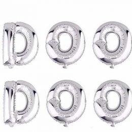 """Μπαλόνια """"DOO DOO"""" ασημί 40 εκ. (6 τμχ)"""