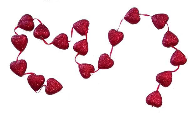 Γιρλάντα Βαλεντίνου με κόκκινες καρδιές