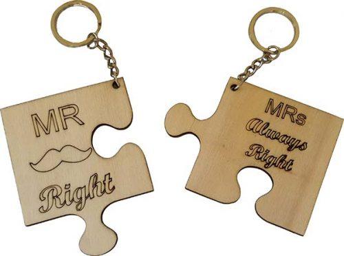 """Ξύλινο μπρελόκ Παζλ """"Mr & Mrs Right"""" (2 τμχ)"""
