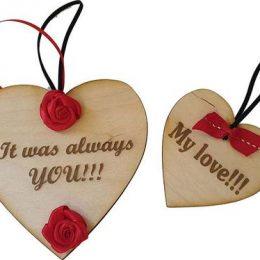 Ξύλινες καρδιές Βαλεντίνου (2 τμχ)