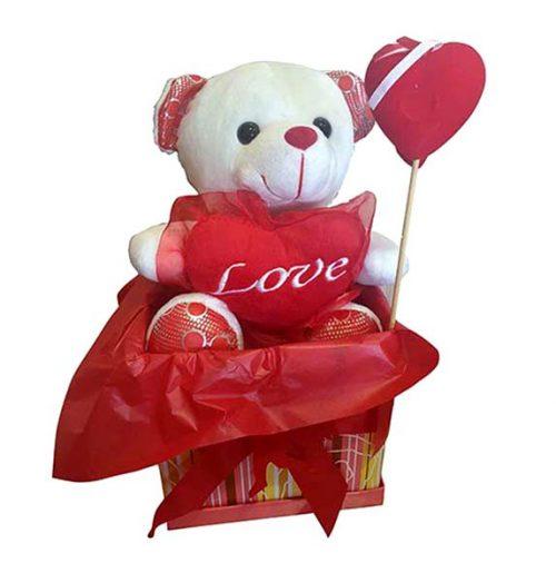 Κουτί Βαλεντίνου Αρκουδάκι & στικάκι καρδιά