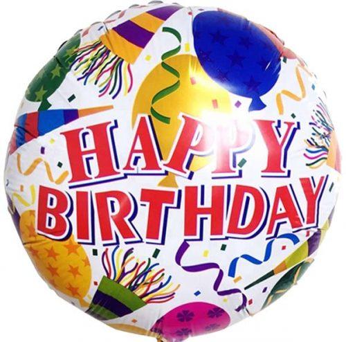Μπαλόνι Happy Birthday καπελάκια & κομφετί 45 εκ