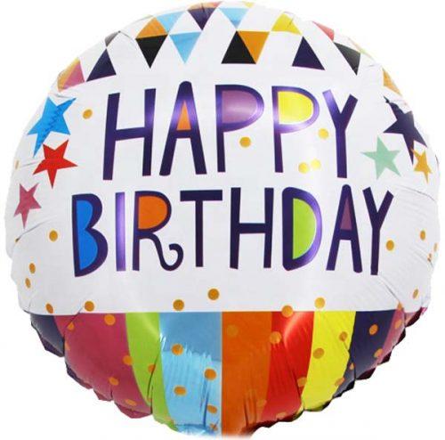 Μπαλόνι Happy Birthday ρίγες & αστέρια 45 εκ