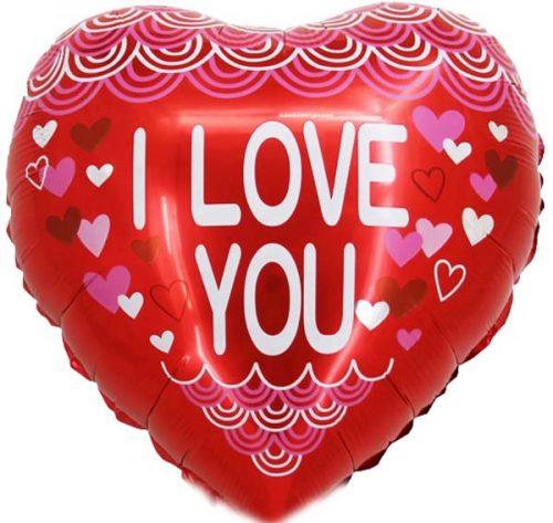 """Μπαλόνι Καρδιά """"I Love you"""" κυματιστά σχέδια 45 εκ."""