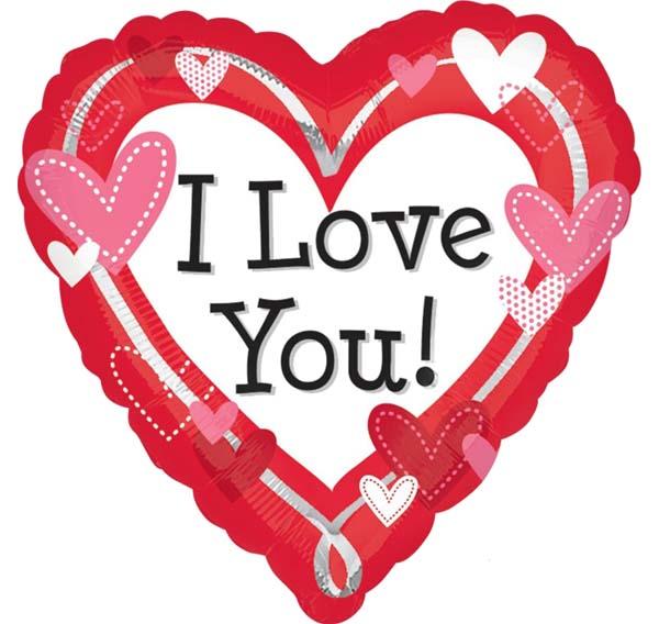 """Μπαλόνι Καρδιά """"I Love you"""" με μικρές καρδιές 45 εκ."""