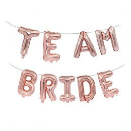 Μπαλόνι ροζ χρυσό Τeam Bride (9 τεμ)