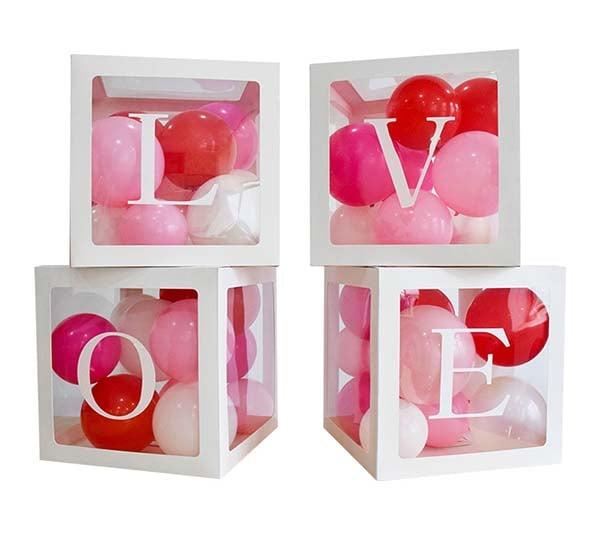 """Κουτιά διακόσμησης με αυτοκόλλητο """"LOVE"""""""