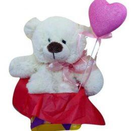 Κουτάκι Βαλεντίνου με αρκουδάκι & στικάκι καρδιά
