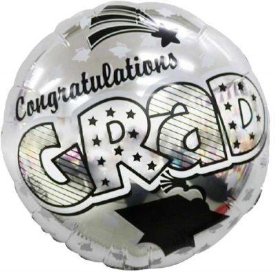 """Μπαλόνι """"Congratulations Grad"""" ασημί 45 εκ."""