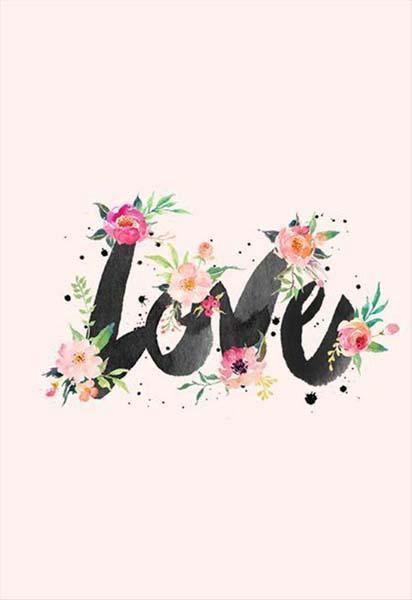 """Κάρτα Αγάπης """"Love"""" με λουλούδια"""