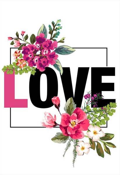 """Κάρτα Αγάπης """"Love you"""" με λουλούδια"""