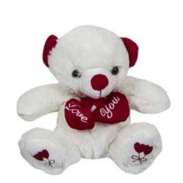 Λούτρινο αρκουδάκι αγάπης που κρατά 2 καρδιές
