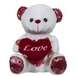 Λούτρινο αρκουδάκι που κρατά καρδιά με τούλι