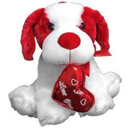 Λούτρινο σκυλάκι αγάπης με που κρατά κόκκινη καρδιά