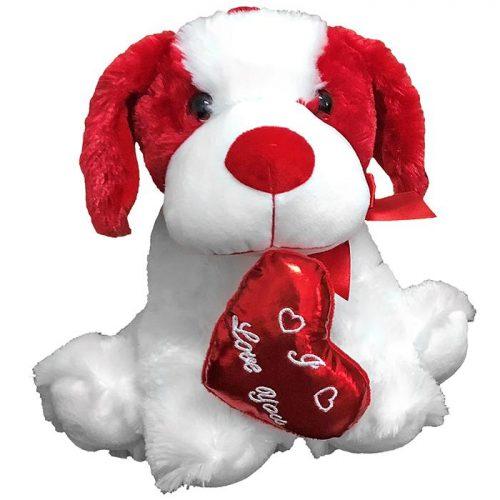 Λούτρινο σκυλάκι αγάπης με που κρατά κόκκινη καρδιά - Δώρα Βαλεντίνου